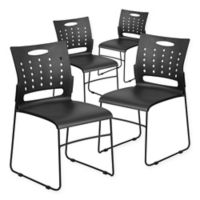 Flash Furniture Vented Stack Chair 4-Pack in Black