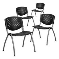 Flash Furniture Plastic Stack Chairs in Black (Set of 4)