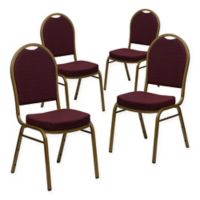 Flash Furniture Hercules 4-Piece Banquet Chair in Burgundy/Gold