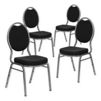 Flash Furniture Hercules Banquet Chairs in Black/Silver (Set of 4)