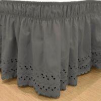 EasyFit™ Eyelet Queen/King Ruffled Bed Skirt in Charcoal