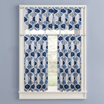 Priya 32 Inch Window Curtain Tier Pair In Blue