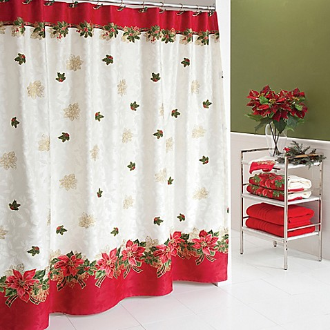 lenox poinsettia tartan shower curtain bed bath beyond. Black Bedroom Furniture Sets. Home Design Ideas
