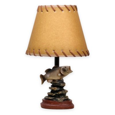 bassfish theme accent lamp with oiled paper shade