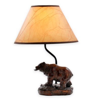 Bear/Fish Theme Accent Lamp With Oiled Paper Shade