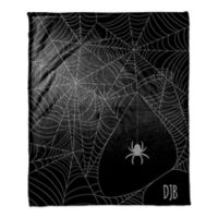 Halloween Spider Webs Throw Blanket in Purple/Black