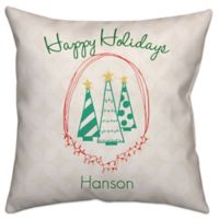 """Happy Holidays"" Throw Pillow in Green/White"