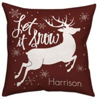 """Let it Snow"" Reindeer Throw Pillow in Red/White"