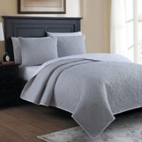 Marseille Reversible Twin Quilt Set in Light Grey
