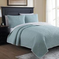 Marseille Reversible Twin Quilt Set in Seaglass