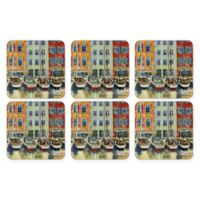 Pimpernel Boat Scene Square Coasters (Set of 6)