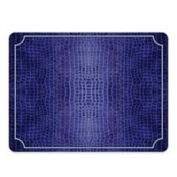 Pimpernel Leather Rectangle Placemats in Blue Croc (Set of 4)