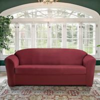 FurnitureSkins™ Kensington 2-Piece Stretch Sofa Cover with Cushion Cover in Merlot