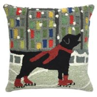 Trans-Ocean Front Porch Holiday Ice Dog Square Throw Pillow in Red
