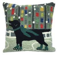 Trans-Ocean Front Porch Holiday Ice Dog Square Throw Pillow in Green
