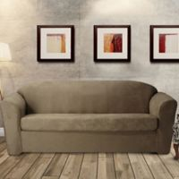 FurnitureSkins™ Austin 2-Piece Distressed Leather Sofa Slipcover in Biscuit