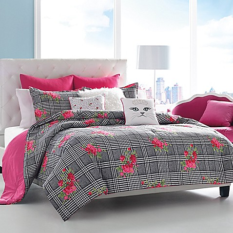 betsey johnson® polished punk comforter set in black and pink