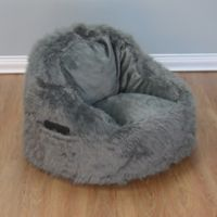 Structured Tablet Fur Pocket Bean Bag Chair in Grey