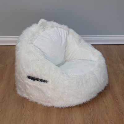 Structured Tablet Fur Pocket Bean Bag Chair In Cream
