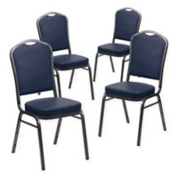 Flash Furniture Vinyl 4-Pack Banquet Chair in Navy