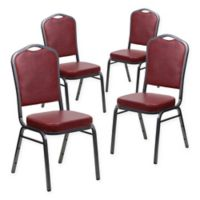 Flash Furniture Fabric 4-Pack Banquet Chair in Burgundy/Silver