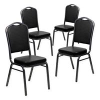 Flash Furniture Vinyl 4-Pack Banquet Chair in Black/Silver