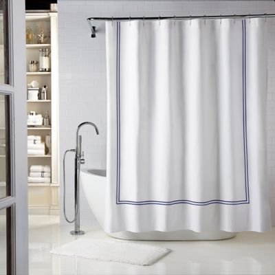 white and navy shower curtain. Wamsutta  Baratta Stitch 54 Inch X 78 Stall Shower Curtain In White Buy Navy Curtains From Bed Bath Beyond