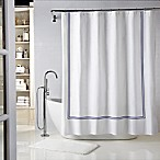 Wamsutta® Baratta Stitch 54-Inch x 78-Inch Stall Shower Curtain in White/Navy