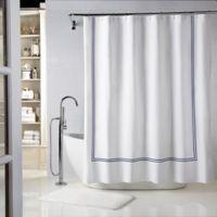 Wamsutta® Baratta Stitch 72-Inch x 72-Inch Shower Curtain in White/Navy