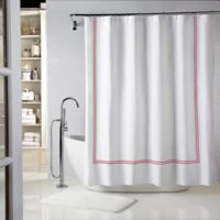 Wamsutta® Baratta Stitch 72-Inch x 72-Inch Shower Curtain in White/Red