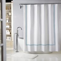 Wamsutta® Baratta Stitch 54-Inch x 78-Inch Stall Shower Curtain in White/Teal