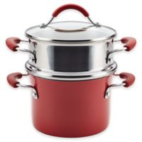 Rachael Ray™ Cucina Hard Porcelain Enamel Nonstick 3 qt. Multi-Pot Steamer Set in Cranberry Red