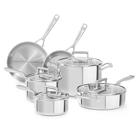 image of Kitchenaid® Tri-Ply Stainless Steel 10-Piece Cookware Set