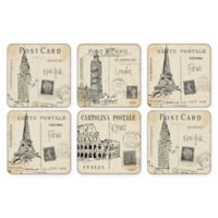 Pimpernel Postcard Sketches Square Coasters (Set of 6)