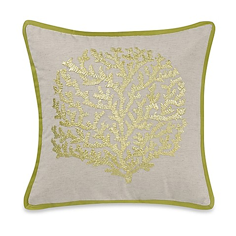 Sea Coral Square Throw Pillow in Green - Bed Bath & Beyond