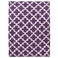 Sleeping Partners Keyhole Cross Knit Throw Blanket in Eggplant