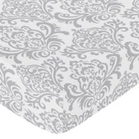 Sweet Jojo Designs Skylar Damask Fitted Crib Sheet in Grey