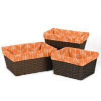 Sweet Jojo Designs Arrow Basket Liners in Orange/White (Set of 3)