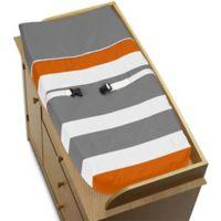 Sweet Jojo Designs Grey and Orange Stripe Changing Pad Cover