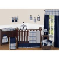 Sweet Jojo Designs Plaid 11-Piece Crib Bedding Set in Navy/Grey