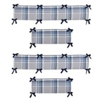 Sweet Jojo Designs Plaid 4-Piece Crib Bumper Set in Navy/Grey