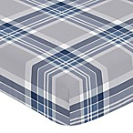 Sweet Jojo Designs Plaid Fitted Crib Sheet in Navy/Grey