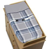 Sweet Jojo Designs Plaid Changing Pad Cover in Navy/Grey