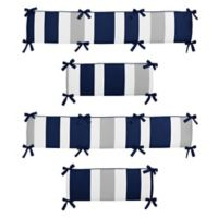 Sweet Jojo Designs Navy and Grey Stripe 4-Piece Crib Bumper Set