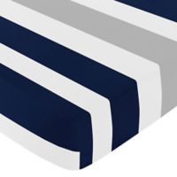 Sweet Jojo Designs Navy and Grey Stripe Fitted Crib Sheet