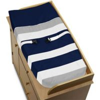 Sweet Jojo Designs Navy and Grey Stripe Changing Pad Cover
