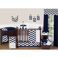 Sweet Jojo Designs Chevron 11-Piece Crib Bedding Set in Navy Blue and White