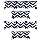 Sweet Jojo Designs Chevron 4-Piece Crib Bumper in Navy Blue and White