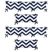 Sweet Jojo Designs Chevron 4-Piece Crib Bumper in Navy Blue and White