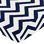 Sweet Jojo Designs Chevron Fitted Crib Sheet in Navy Blue and White